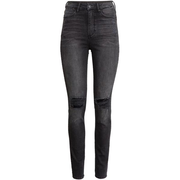 H&M Skinny High Jeans ($45) ❤ liked on Polyvore featuring jeans, pants, bottoms, trousers, black, skinny fit jeans, h&m, high-waisted jeans, black skinny jeans and skinny leg jeans