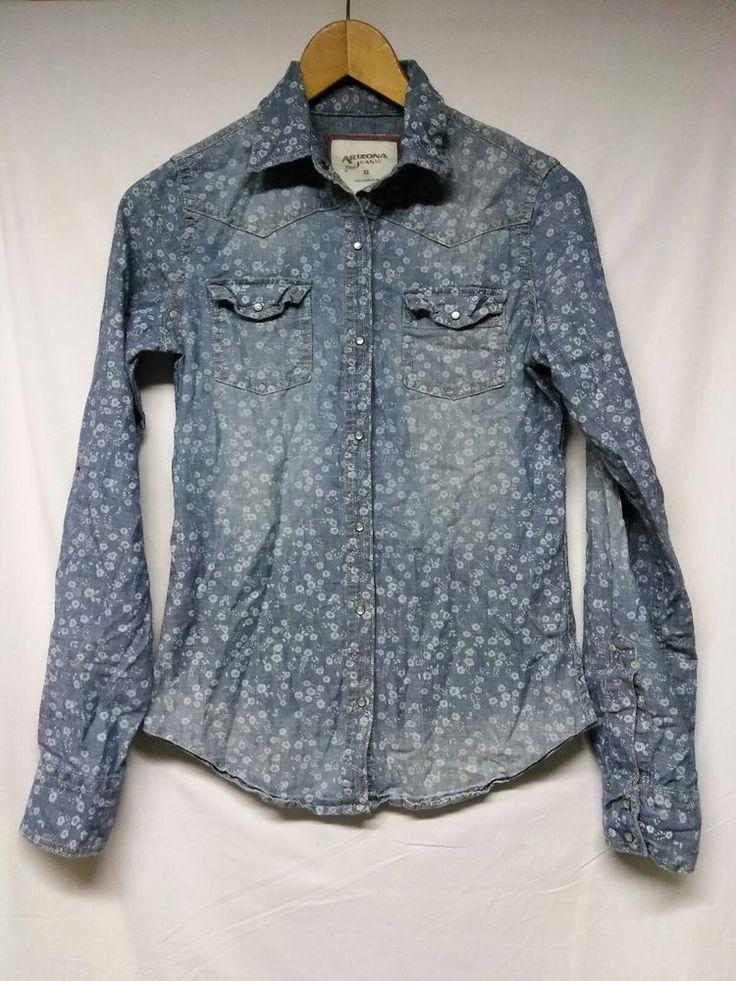 Arizona Jeans Co Womens Long Sleeve Floral Denim Shirt Pearl Snap Western XS #AriZona #Western #Casual