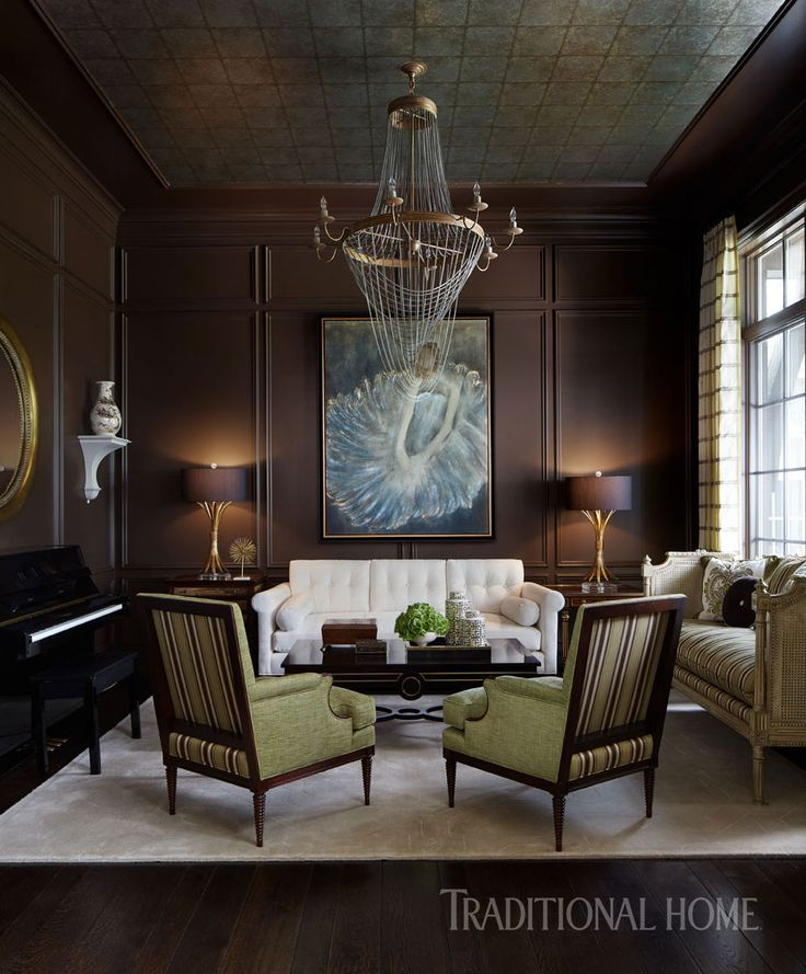 Chocolate hue paneled walls supply a delectable counterpoint