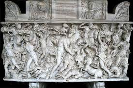 Batalla de Aquiles contra las Amazonas. En sus brazos vemos a Pentesilea.