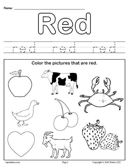 Color Red Worksheet Color worksheets for preschool