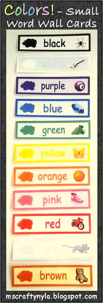 Small Word Wall cards for color