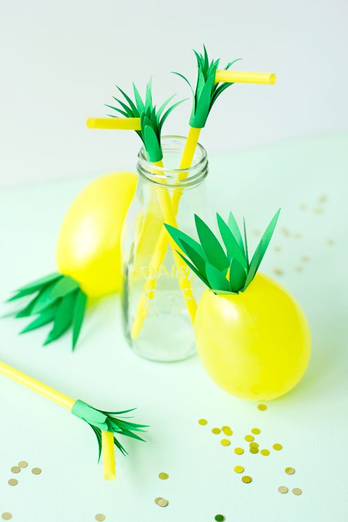 DIY Pineapple Balloons and Straws | like-the-cheese.com