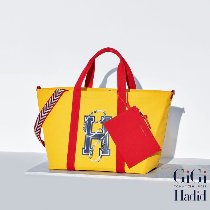 TOMMY HILFIGER CANVAS TOTE BAG GIGI HADID - FREESIA/GH LOGO. #tommyhilfiger #bags #shoulder bags #hand bags #canvas #tote #