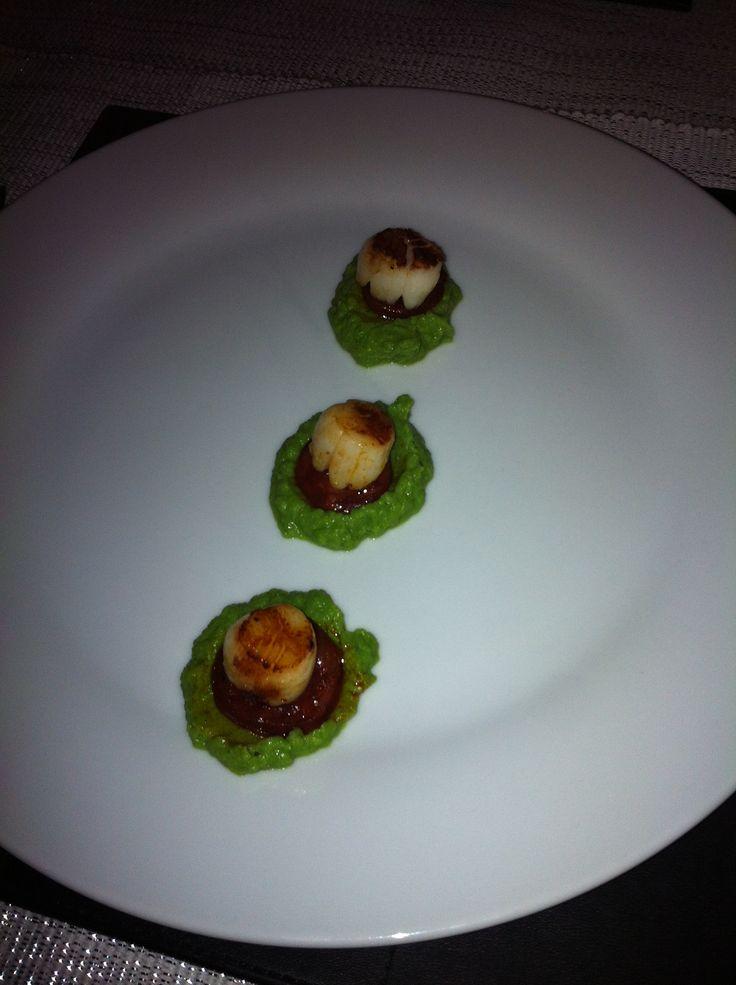 Scallops on Chirizo & Pea Puree