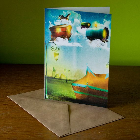 wenskaart vliegend circus | wish card flying circus | illustratie | cards | magic | fairy | magisch