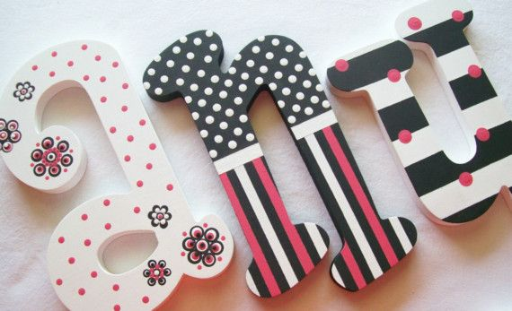 POSH PINK Hand Painted Wooden Letters Reserved for por PoshDots