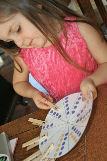 Preschool Math - number wheel (match the dots to the numbered clothespin)