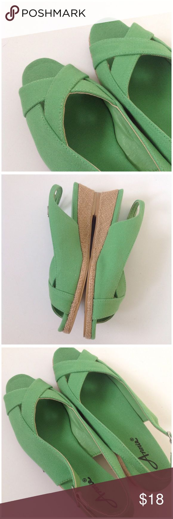 Annie green wedge open toe heels sz 6.5M Cute green open toe wedge shoes. Sz 6.5 never used but don't have original box anymore Annie Shoes Platforms