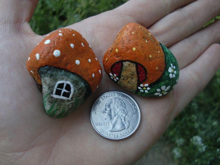 Mushroom House painted rocks