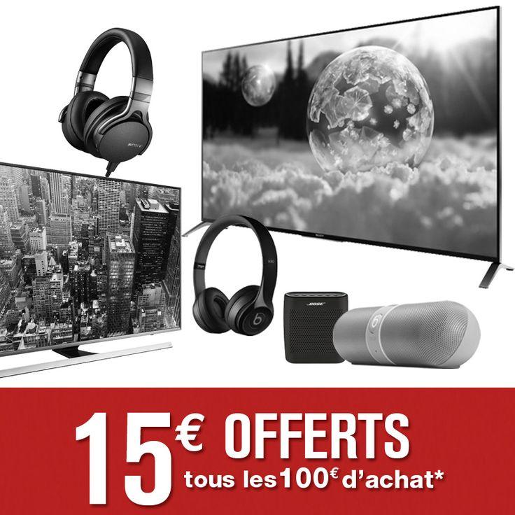 c'est le week-end, fêtons la musique en promo : -15€ tous les 100€ d'achat dur nos TV 4K, nos casques audio et nos enceintes sans fil* (*hors Sonos et Heos by denon) !     #Promo #BonPlan #CodeRéduction #Cobra #Cobrason