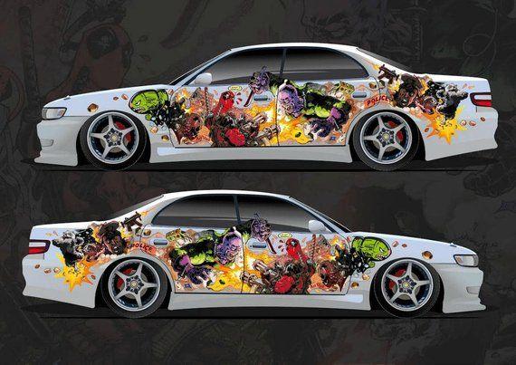 Car Side Full Color Graphics Vinyl Sticker Custom Body Decal Etsy Car Decals Vinyl Custom Car Decals Car