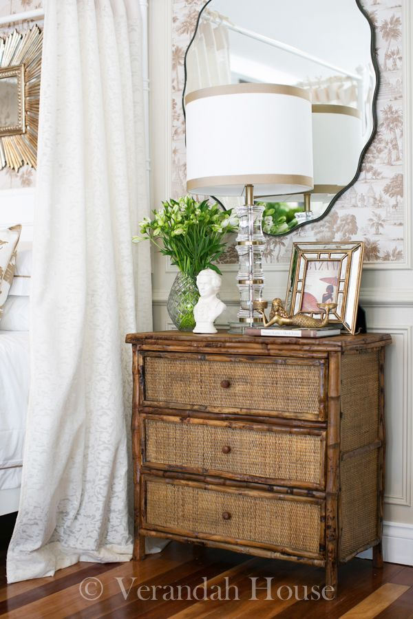 All beautiful...rattan nightstand, lamp, mirror, wallpaper - Verandah House