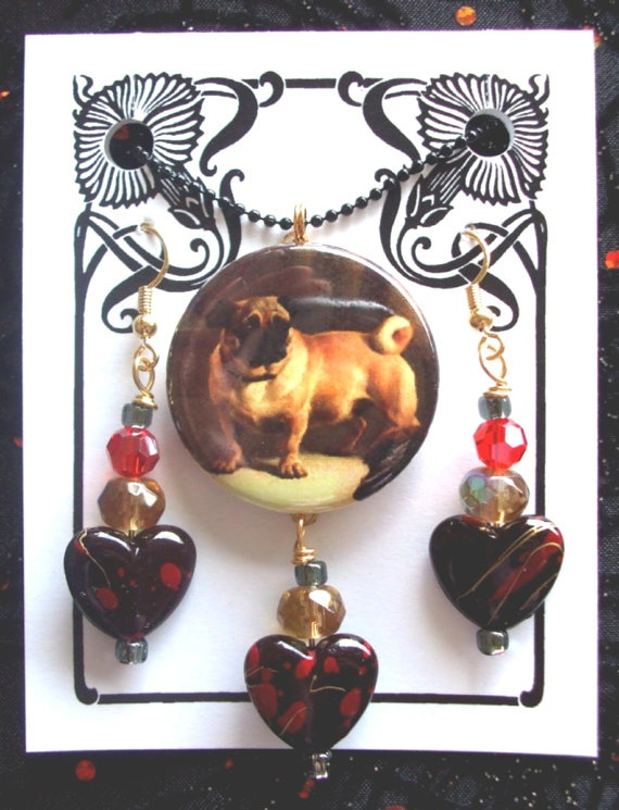 Hearted Pug Pendant and Earrings by threecatsgraphics on Etsy, $14.00Three Cat, Pugs Pendants, Cat Graphics, Heart Pugs, Etsy Shops