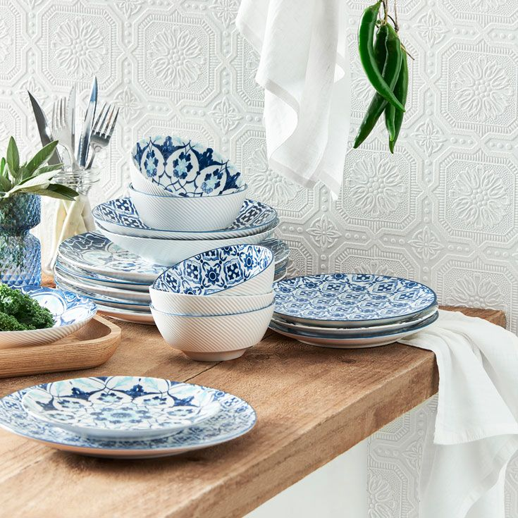 Update your tableware by injecting a co-ordinating pattern to your collection #kitchendecor #homestyle #bedbathntable