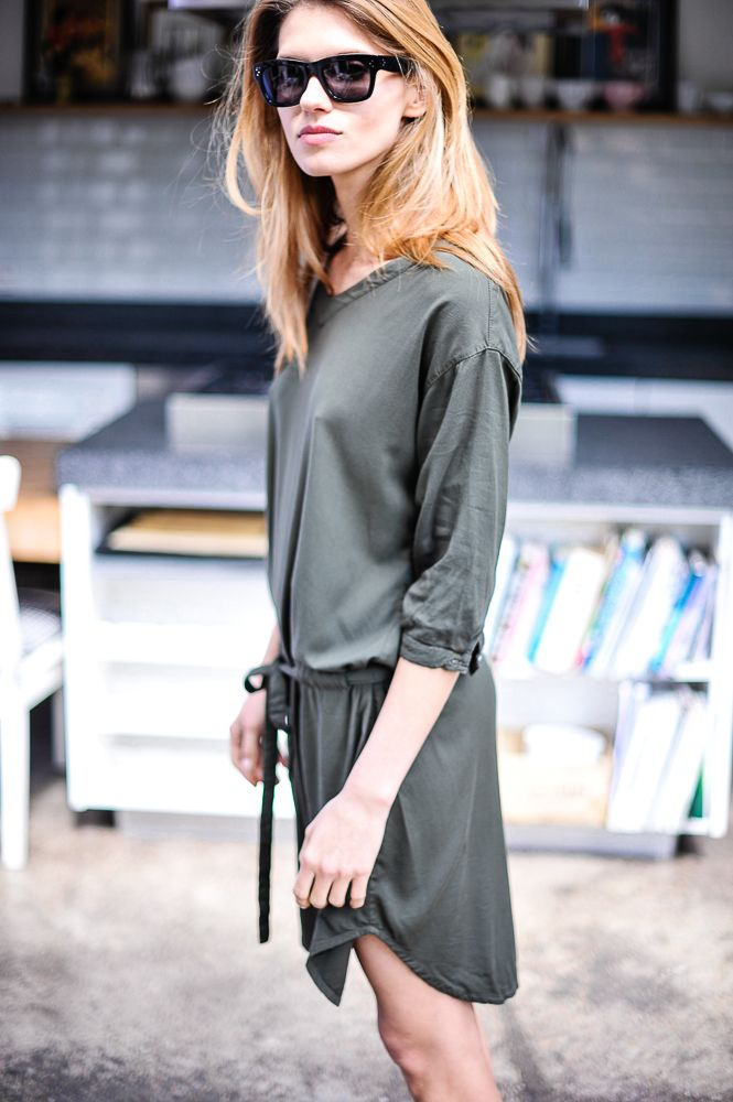 khaki casual dress celine sunglasses