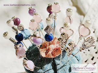 Barbaral Creations Decorative beaded stick pins #sewingpin #beadedpin #hatpin #beadwork