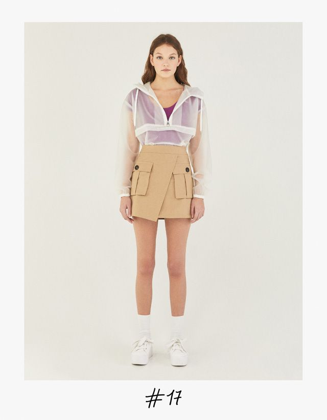 Crossed skirt with pockets - Bershka #fashion #product #skirt #crossed #falda #camel #outfit #trend #trendy #girl #girly #cool
