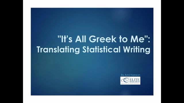 Statistical writing is an important concept to understand for students, academic writers, researchers, and textbook authors alike. This style of writing is different from others because of its focus in formatting, statistical language, and sections of visual data. In this webinar, Ami Hanson, Editor and Content Specialist for Elite Research, LLC, will present not only ways to understand statistical writing but also tips of how to write statistical language clearly in theses and…