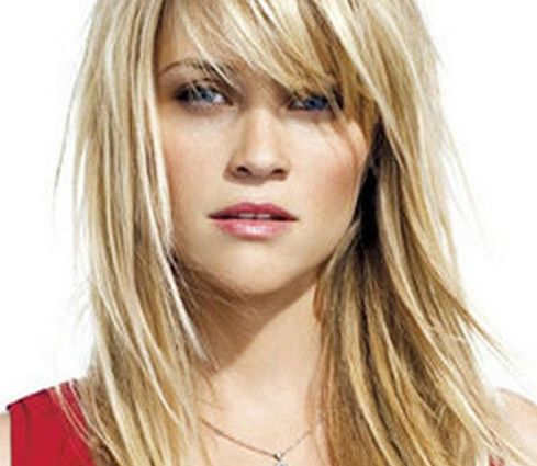 layered medium length straight haircut with side bangs