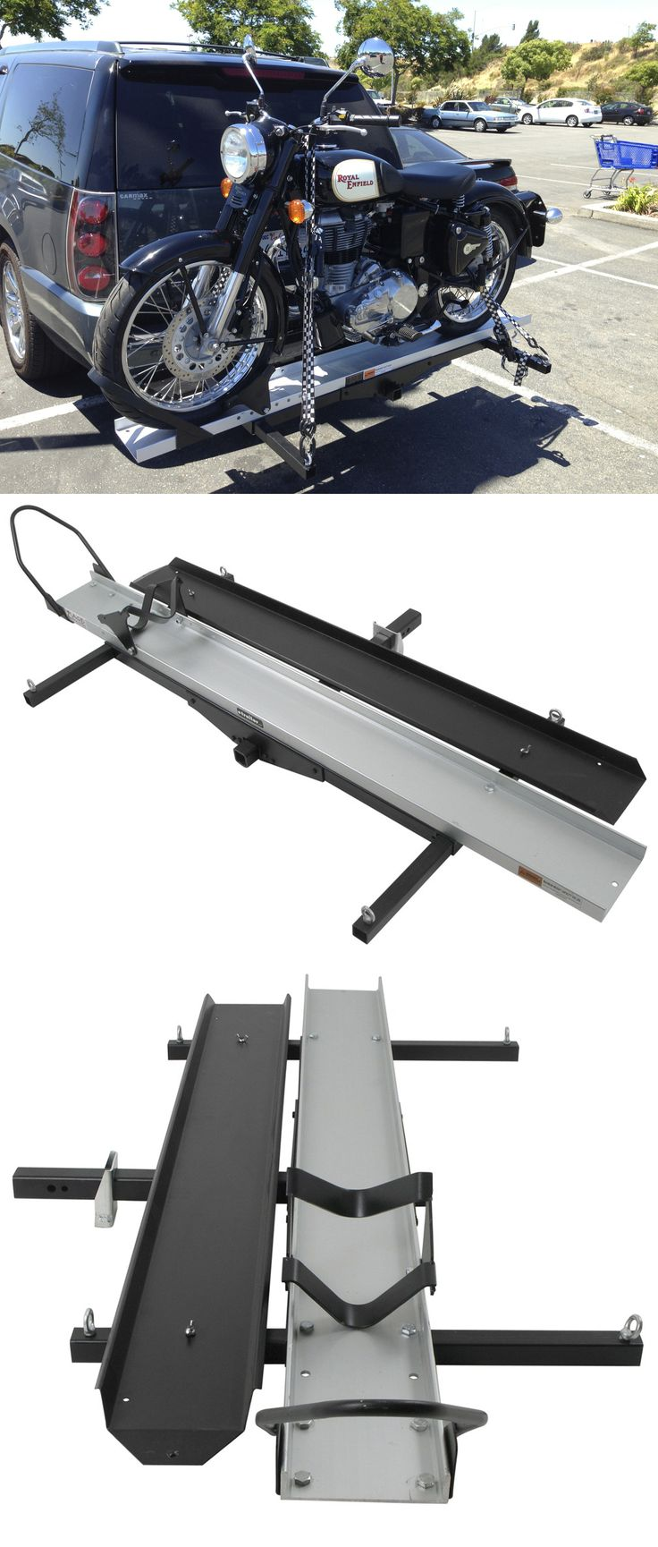 Rage PowerSports hitch cargo carrier lets you transport your motorcycle safely and efficiently. Durable, heavy-duty steel frame and includes extra long ramp for easy loading and unloading.
