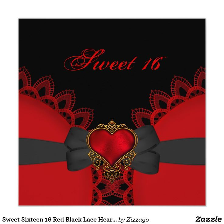 Sweet Sixteen 16 Red Black Lace Heart Gothic Card Sweet Sixteen Sweet 16 Birthday Party Red Heart Black Bow Lace Gothic Birthday Party Invitation Birthday Party. All Occasions Fabulous Elegant Events for Women, Girls, Party Invites for all ages, just customize to the age you want! 21st Birthday Party Invitations, 20th Birthday Party Invitations, 30th Birthday Party Invitations, 40th Birthday Party Invitations, 50th Birthday Party Invitations, 60th Birthday Party Invitations, 70th Birthday…