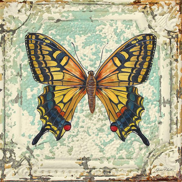 Lovely Yellow Butterfly on Tin Tile Painting