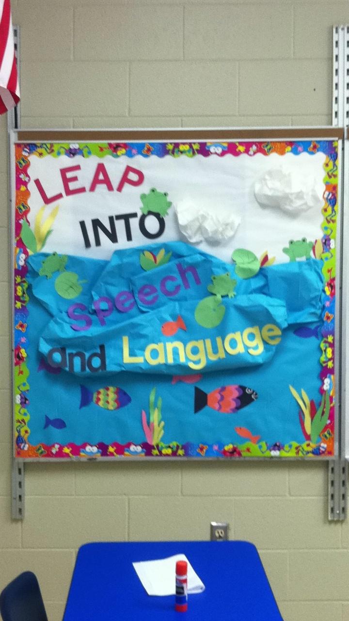 Speech Language Classroom Decorations ~ Leap into speech and language bulletin board i did it