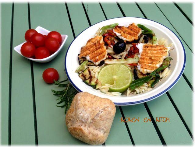Koken en Kitch: Geroosterde halloumi met zomergroenten