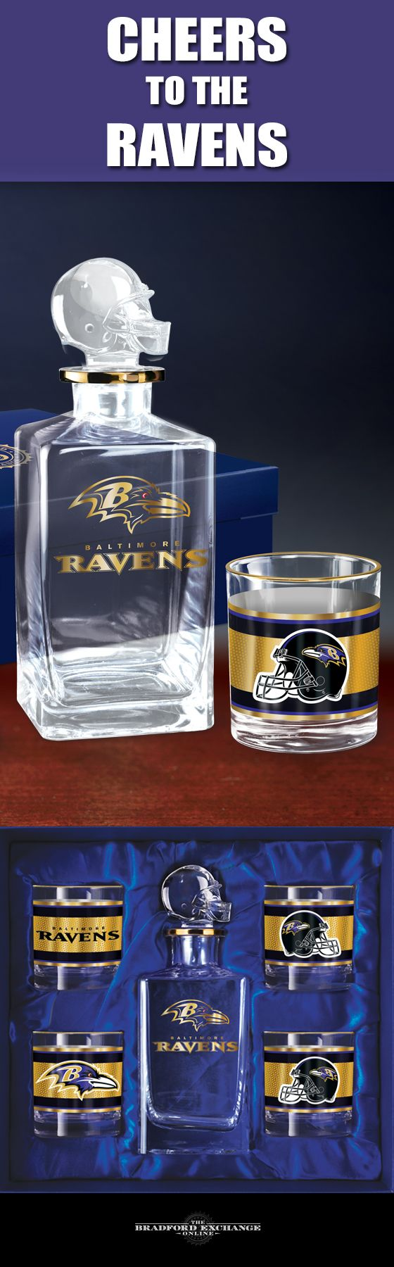 Raise a toast to your Baltimore Ravens with a handsome 5-piece decanter set. This officially-licensed NFL barware set includes a crystal-clear decanter with a custom helmet topper, 4 team icon glasses rimmed in gleaming 12K gold and a satin-lined gift box.