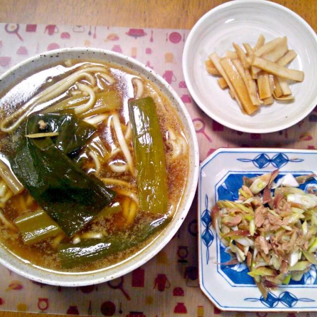 ゆで鶏の残り汁でうどん~ - 6件のもぐもぐ - 4月3日 鶏うどん みょうがとツナのネギサラダ 大根の皮のポン酢漬け by sakuraimoko
