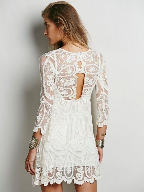 Gorgeous lace back on this free people dress perfect for a bohemian wedding, and under $500!