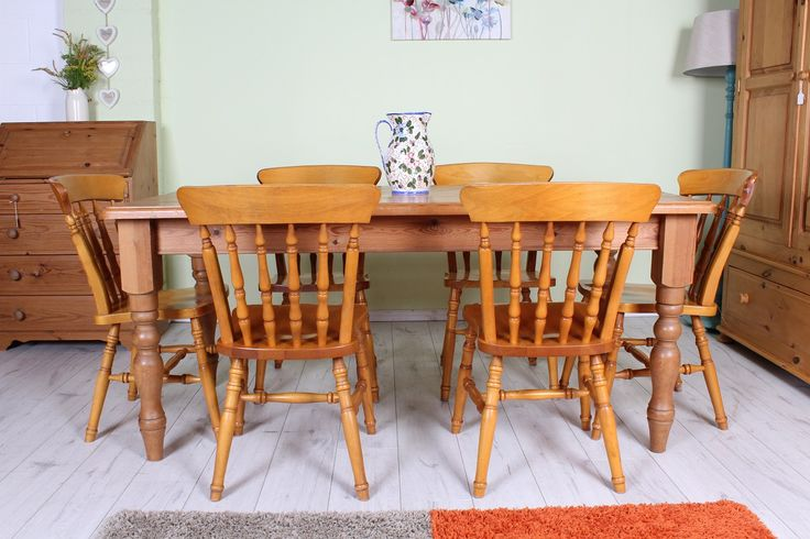 £325 Solid pine farmhouse table & 6 beech chairs - sturdy set great as it is or would look amazing painted - all the details are on the website - http://www.sussexpineonline.co.uk/en/
