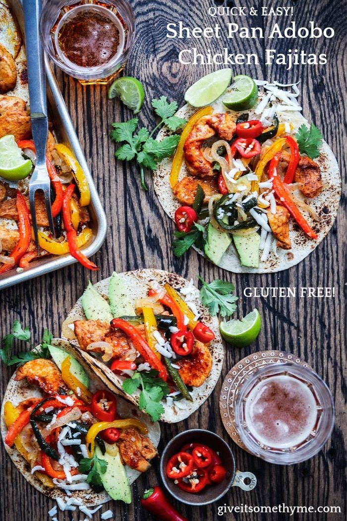 Weeknight dinners just got easier and tastier with these sweet n' spicy Sheet Pan Adobo Chicken Fajitas! So flavorful, g…