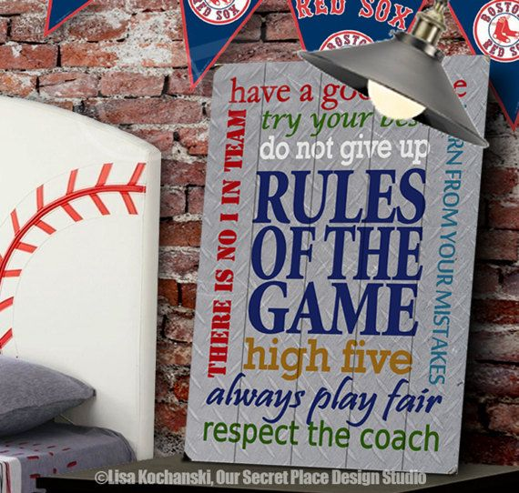 Rules Of The Game Planked Wood Sign Custom Signs Sports Decor For Boys Room Teen Wall Art