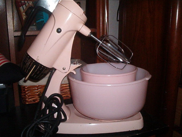 Pink!!! I have this one.  Want a large pink Kitchenaid mixer that cost $300 or so.  Found this one on Ebay and I love it... 1957 model & pink :)