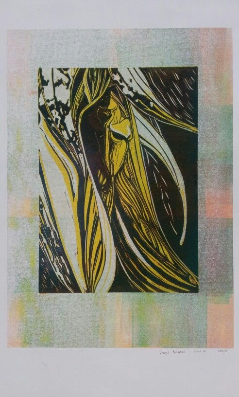 Soul union > relief print on mono print background