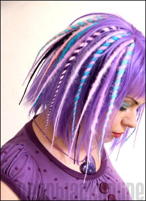 Purple, lilac and turquoise dread wig - synthetic dreadlock wig - Made to order door NeonBlackOnline op Etsy https://www.etsy.com/nl/listing/159035852/purple-lilac-and-turquoise-dread-wig