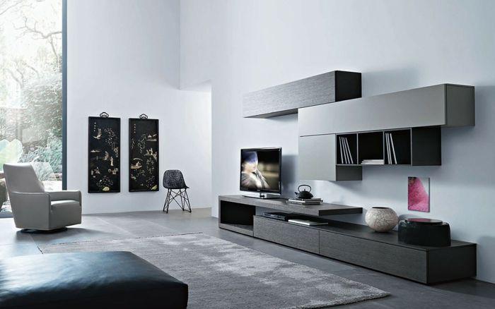 ikea wohnwand graue fronten schränke minimalistisch san giacomo - wohnzimmer grau ikea