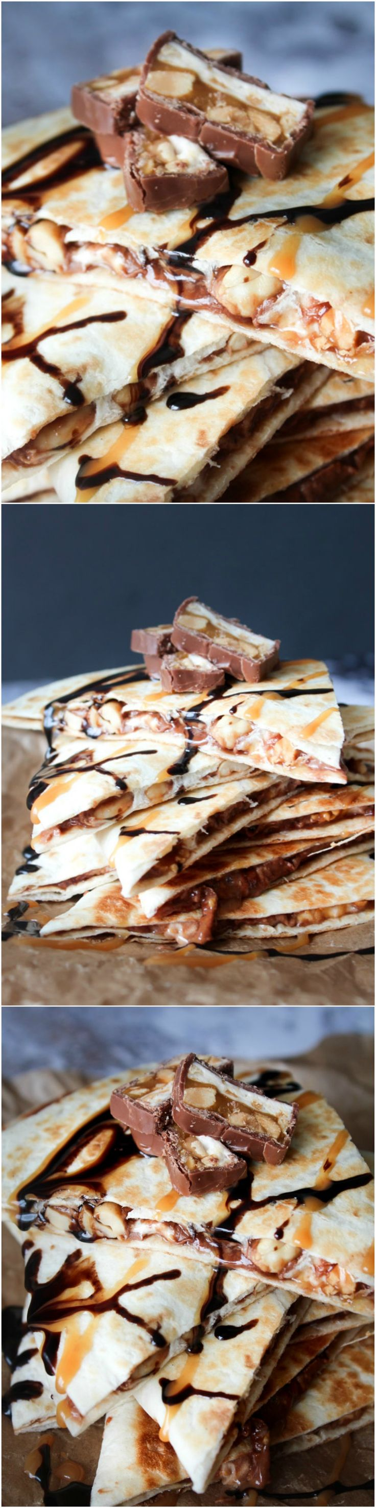 Homemade snickers quesadillas - chocolate recipe - chocolate dessert - snickers dessert - peanut recipe - quesadilla recipe - snack - homemade snack
