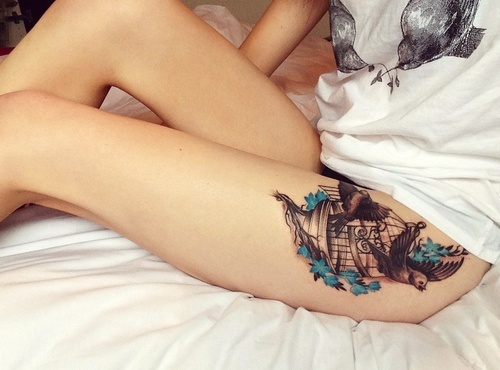 Bird cage tattoo I JUST LOVE THIS IDEA