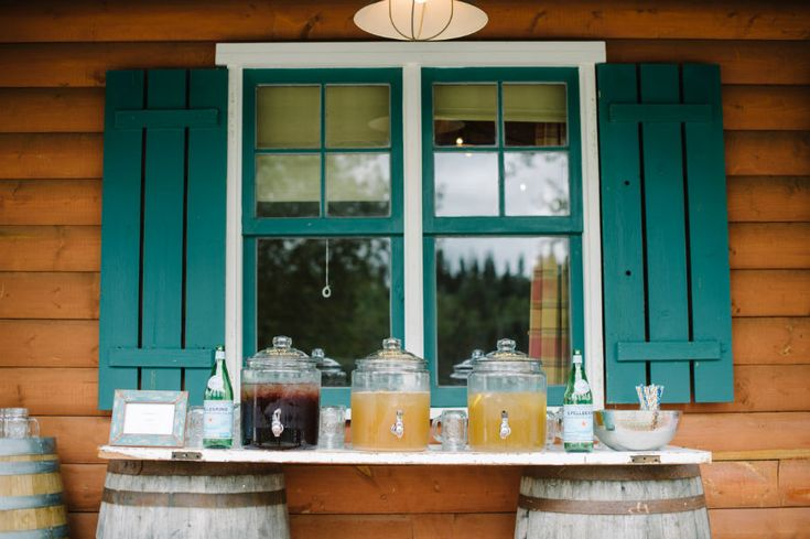 Mirey + Pat // Heartland Dude Ranch Wedding, Calgary » Shannon Valente Weddings Specialty lemonade lined up for an outdoor cocktail reception. See the full ranch wedding on the blog.
