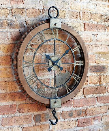 Another great find on #zulily! Industrial-Chic Pulley Clock #zulilyfinds