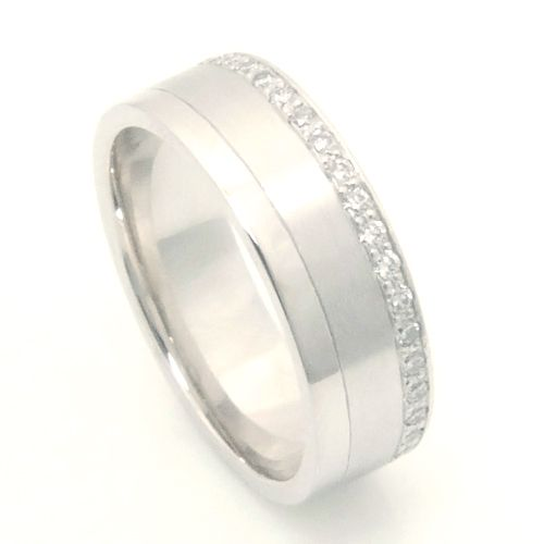 Trending Platinum Fully Diamond Set Wedding Ring with Diamond Cut Line Form Bespoke Jewellers Leeds