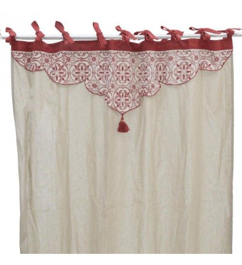 FABRIC CURTAIN IN BEIGE_RED COLOR 140X250
