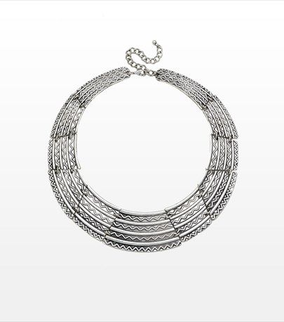 This tribal bib necklace is perfect for accessorizing your round collar tops!