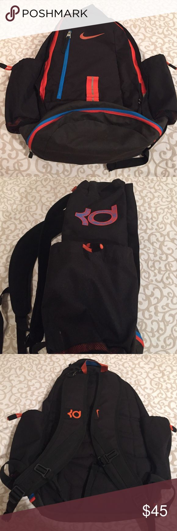 Nike KD Backpack Mens/Boys very hard to find KD backpack. Gentle used. Very nice size backpack. Holds lots of stuff. Even has a silver lined cooling compartment in the front zipper. All zippers work. No rips or tears. Looks great! Nike Bags Backpacks