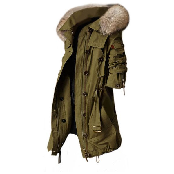 Longline Military Green Hooded Coat With Faux Fur Hood Trim ($522) ❤ liked on Polyvore