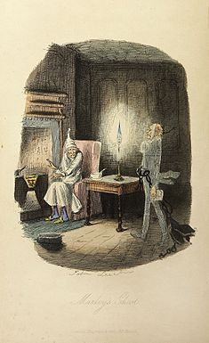 "Ebenezer Scrooge encounters ""Jacob Marley's ghost"" in Dickens's novel, A Christmas Carol"