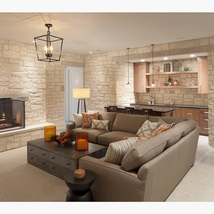 Loving the stone work on the walls and the pop of orange in this basement by Scott Christopher Homes... - Interior Design Ideas, Interior Decor and Designs, Home Design Inspiration, Room Design Ideas, Interior Decorating, Furniture And Accessories